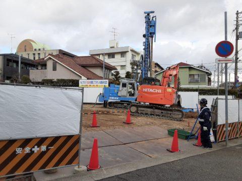 兵庫県芦屋市某共同住宅、柱状改良現場