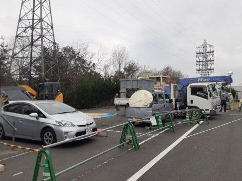 京都府福知山市某工場、柱状改良、ソイルコラム工法です。本日からの施工で搬入状況です。
