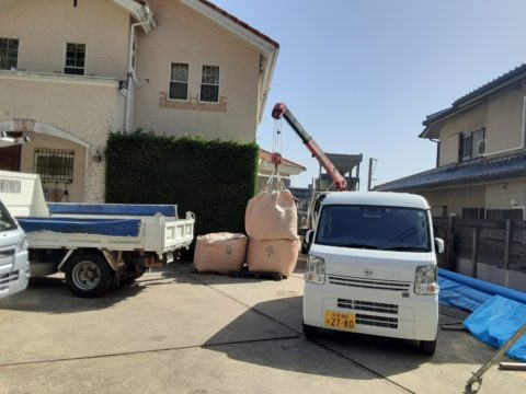 京都市西京区某住宅、柱状改良現場