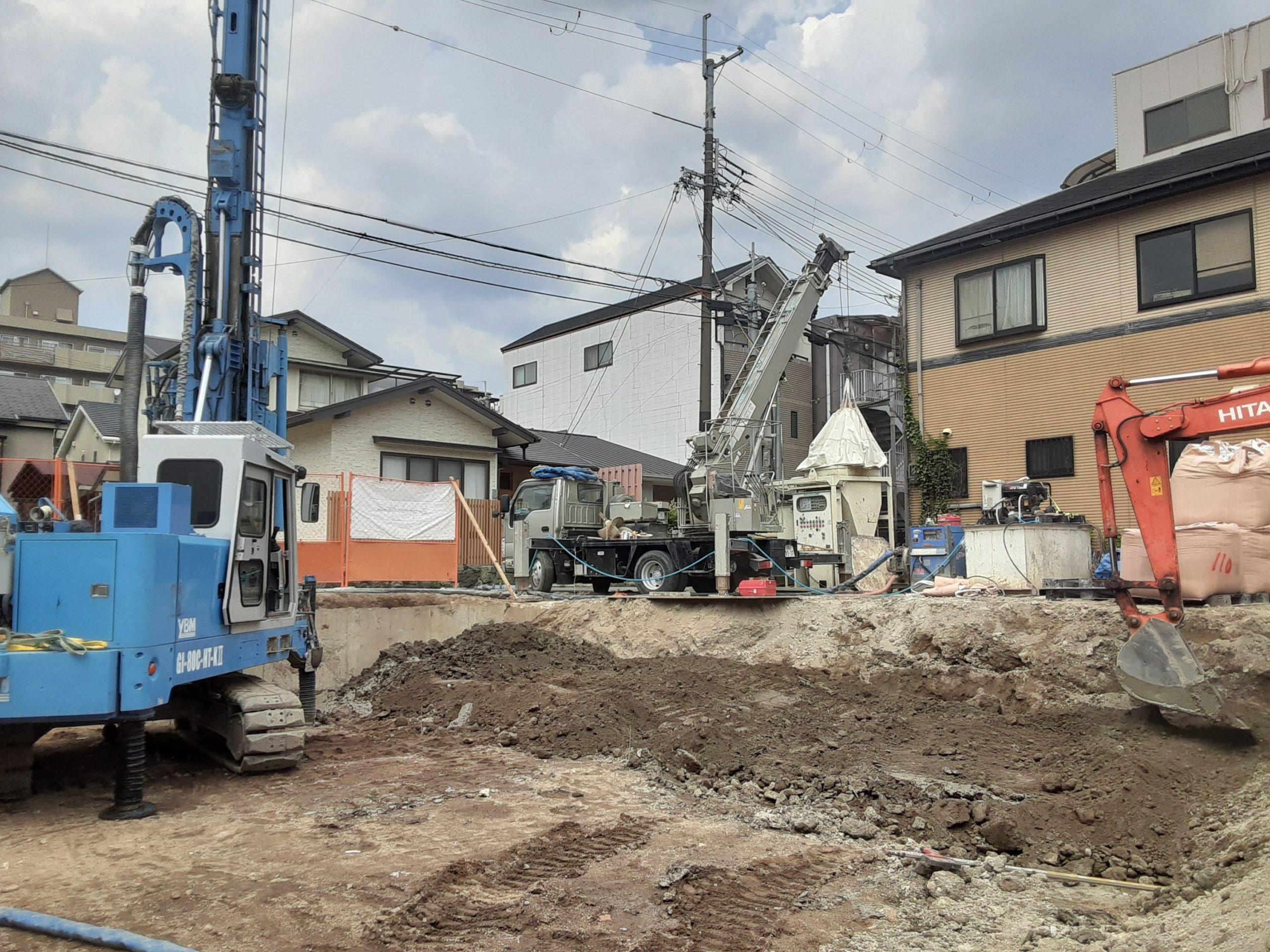 京都市伏見区某地盤改良現場