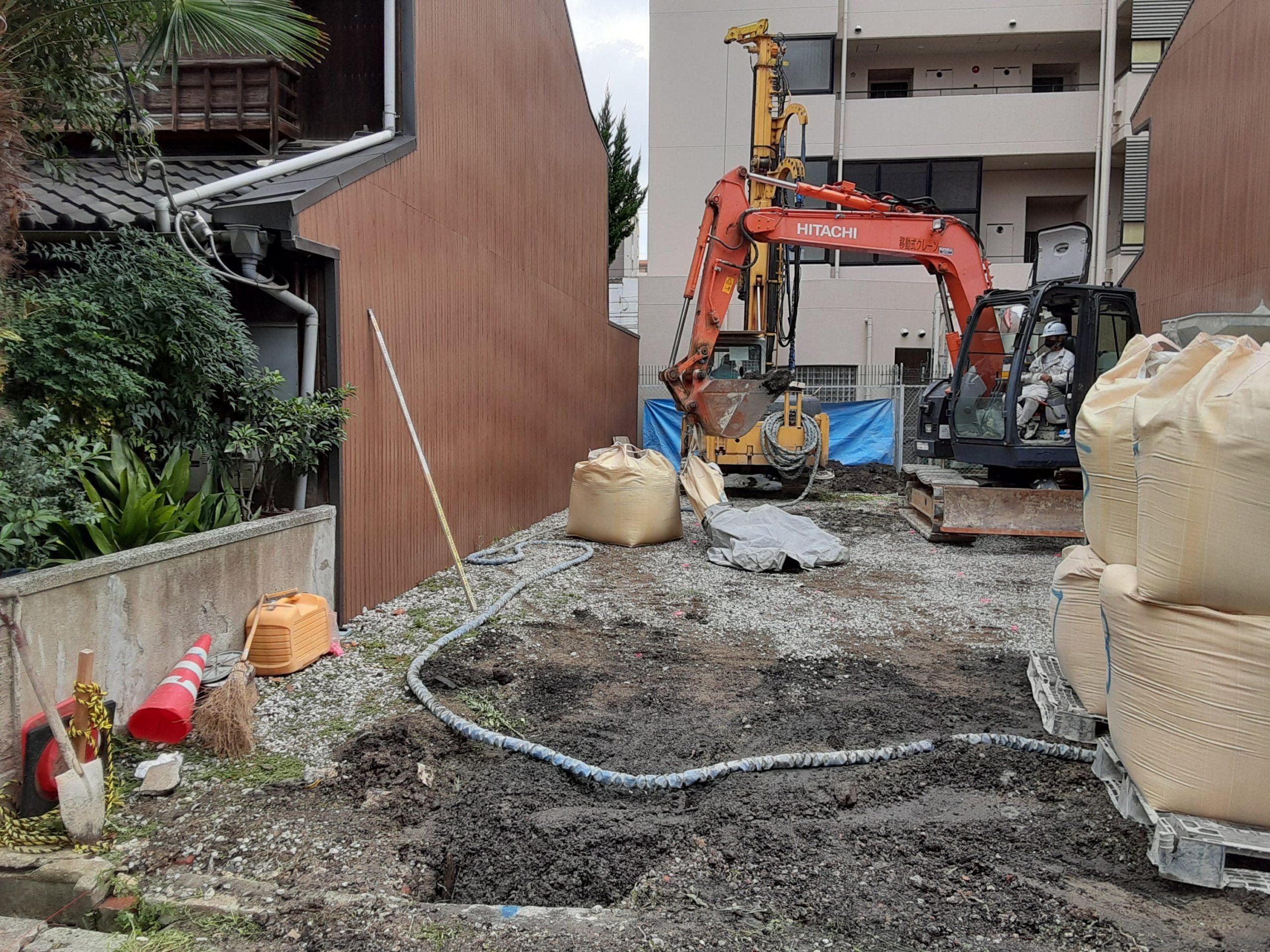 大阪市阿倍野区某柱状改良現場